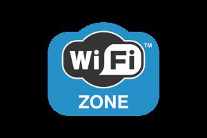 Logo bleu d'une zone couverte par le wifi