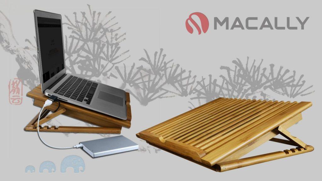 illustration du support en bambou ecofanpro2 de chez Macally