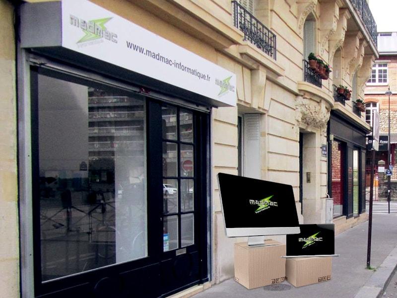 vitrine de la boutique MadMac, réparation Apple à Paris